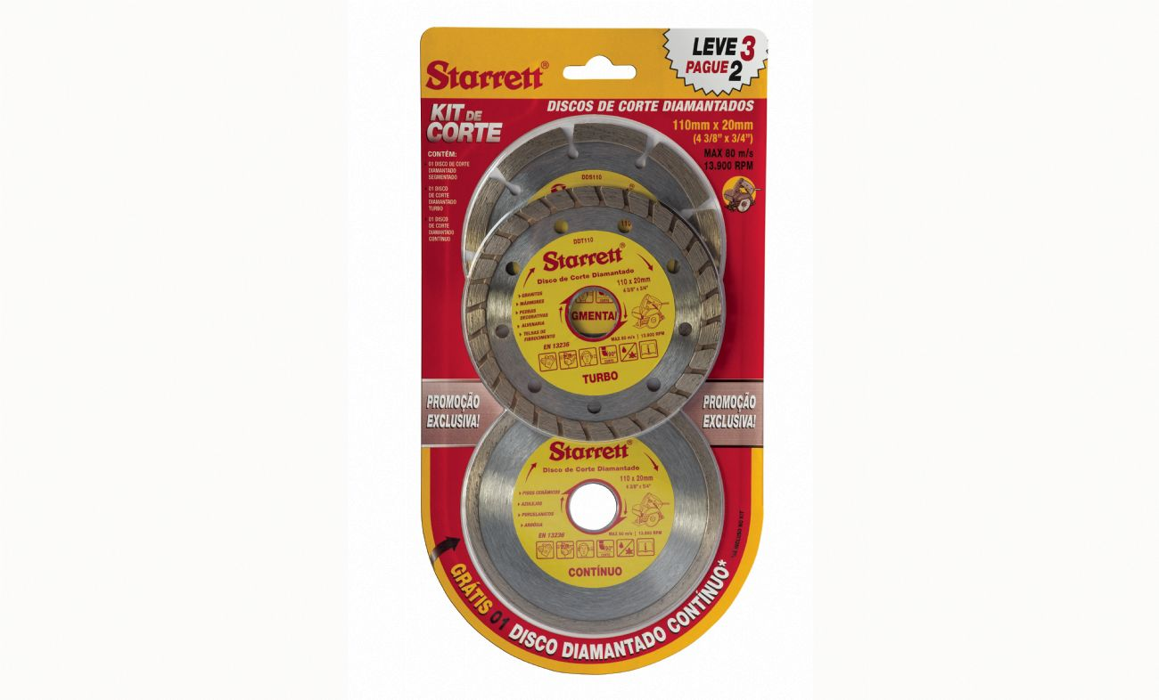 Kit Disco de Corte Diamantado Segmentado 110 MM C/3 PCS - Starrett